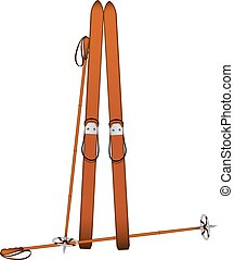 Old wooden alpine skis and old ski poles on white background