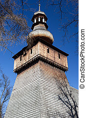 old wooden antique  church in poland in rabka