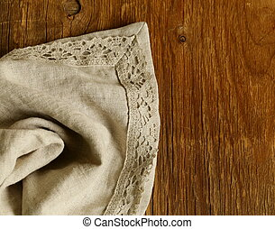 old wooden background with napkin