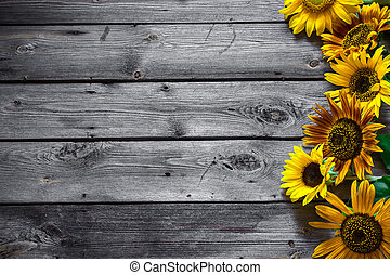 Old Wooden Background With Sunflowers