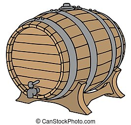 Old wooden barel - Hand drawing of a classic wooden barrel