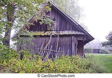 old wooden barn in farm