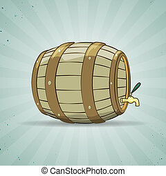 Old wooden barrel filled with natural wine or beer. Keg. -...