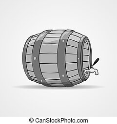 Old wooden barrel filled with natural wine or beer. Keg. - ...