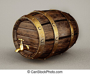 barrel - old wooden barrel isolated on a grey