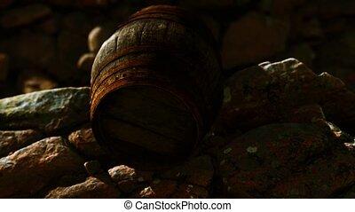old wooden barrel on the rocks