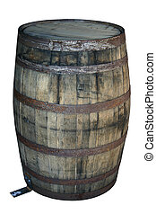 Old Wooden Barrel - Water damaged old wooden barrel isolated...
