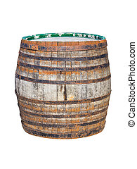 Old wooden barrel isolated on white background