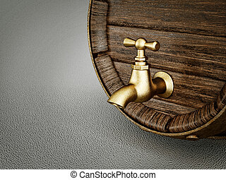 barrel - old wooden barrel  with  tap  isolated on a grey