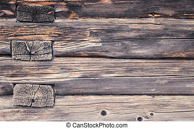 Old wooden beams wall. Texture. Background.