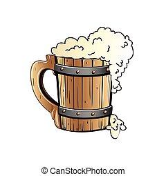 Old wooden beer mug