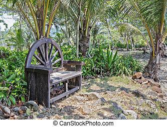 Old wooden bench in garden