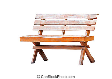 Old wooden bench isolated