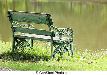 old wooden bench near the lake