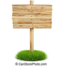 billboard - old wooden billboard on the grass isolated on...