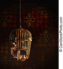 Old wooden bird cage with feathers