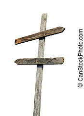 Old wooden blank sign post