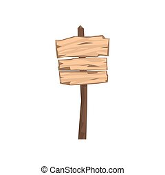 Old wooden blank warning sign board vector Illustration