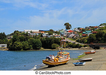 Old wooden boat, Chiloe Island, Chile