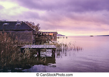 Old wooden boat houses