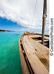 Old wooden boat in the Indian ocean