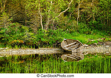 Old wooden boat on lake shore