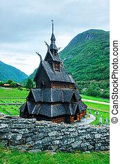 Old wooden Borgund Stave Church, Sogn og Fjordane county,...