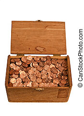 Old Wooden Box Full of Pennies