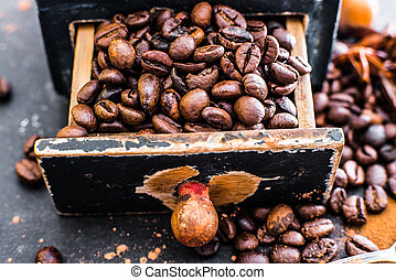 Old wooden box with coffee beans