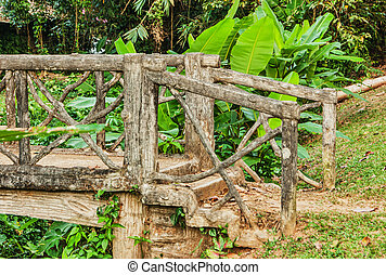 old wooden bridge in the forest