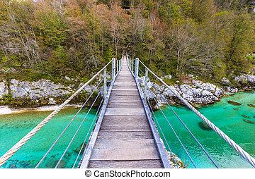 Old wooden bridge over Soca river