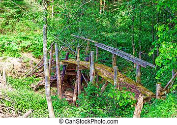 Old wooden bridge over the creek.