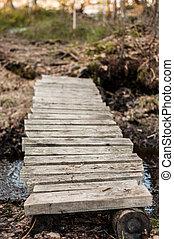 Old Wooden bridge over the little creek closeup