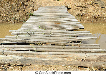 Old wooden bridge over the river in the countryside.