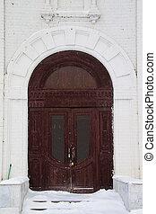 old wooden brown door