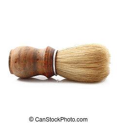 wooden brush on white background