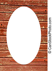Old wooden building wall and white oval in center