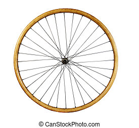 old wooden bycycle wheel