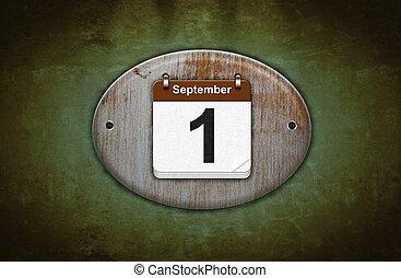 Illustration old wooden calendar with September 1.