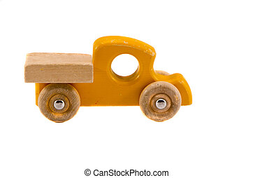 old wooden car toy isolated