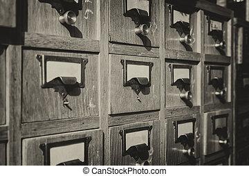 Old wooden card catalog (vintage effect)