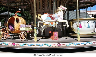 Old wooden carousel