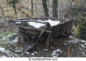 old wooden cart in the snow