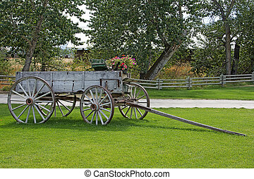 Old wooden cart with flowers in the country