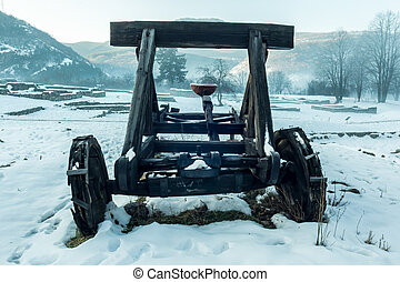 Old wooden catapult