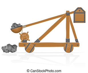 old wooden catapult loaded stones illustration