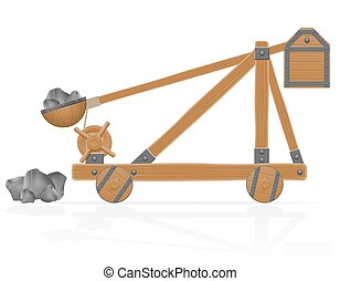 old medieval wooden catapult loaded stones vector illustration isolated on white background
