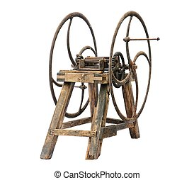 Old wooden chaff cutter isolated on white background
