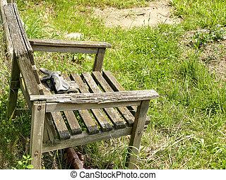 old wooden chair in a garden