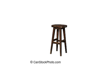 Old wooden chair isolated on white background